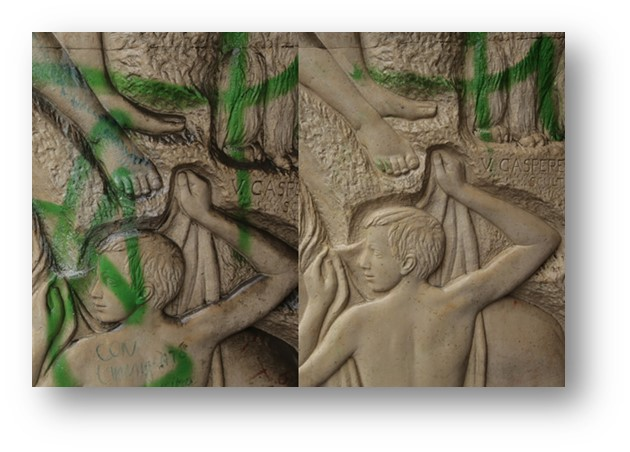 Nettoyage graffiti - avant / après